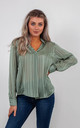 STRIPED CHIFFON BLOUSE (GREEN) by Lucy Sparks