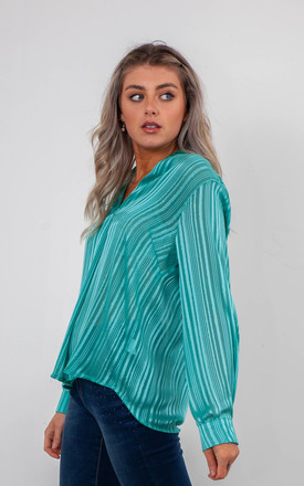 STRIPED CHIFFON BLOUSE (TURQUOISE) by Lucy Sparks
