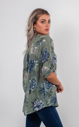 FLORAL BLOUSE (KHAKI GREEN) by Lucy Sparks