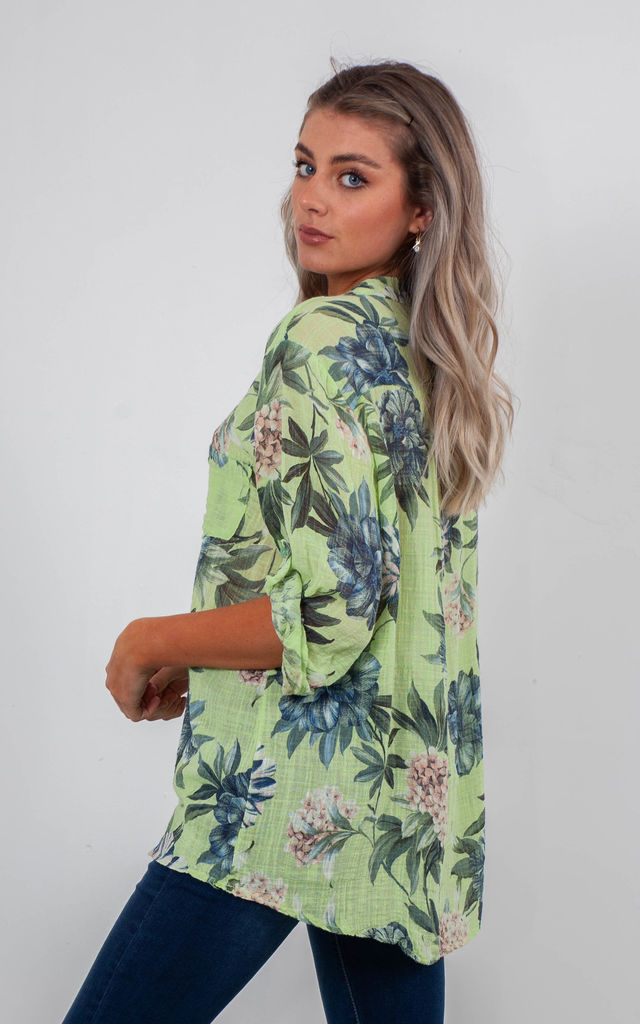 FLORAL BLOUSE (LIME GREEN) by Lucy Sparks