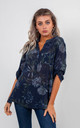 FLORAL BLOUSE (NAVY BLUE) by Lucy Sparks