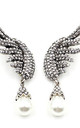Angel Wing Statement Earrings in White Pearl by Azzediari Clothing