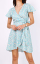 Summer Mini Wrap Dress With Frill Hem In Mint Ditsy Floral Print by Lilura London