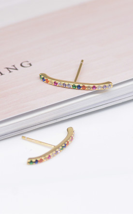 Minimalist Suspender Cuff Earrings in Sterling Silver, Rainbow Earrings,Simple and Delicate by Silver Rain