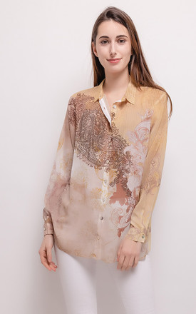 Missy T Limited Edition Crystal Embellished Sheer Camel & Brown Paisley Baroque Print Shirt Blouse by Azzediari Clothing