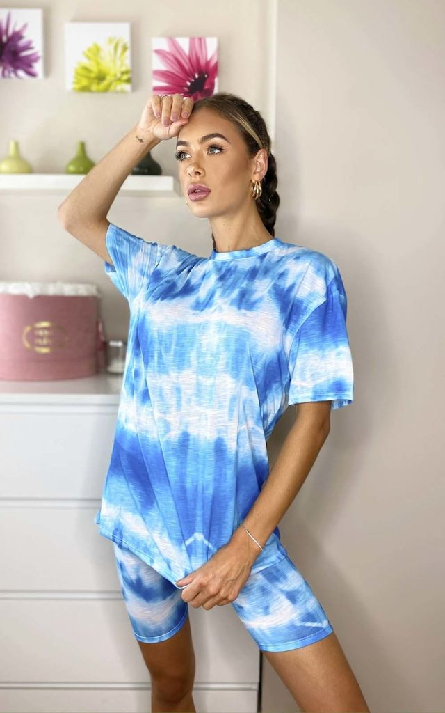 Abi Tie Dye Cycle Shorts & Top Co-ord in Blue by IKRUSH