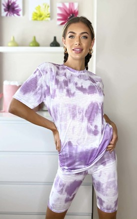Abi Tie Dye Cycle Shorts & Top Co-ord in Purple by IKRUSH