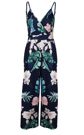 Tie Back Detail Jumpsuit In Navy With Green Palm Print by FS Collection