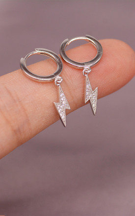 Sterling Silver Huggie Hoops with Crystal Lightning Bolt Charm by Silver Rain