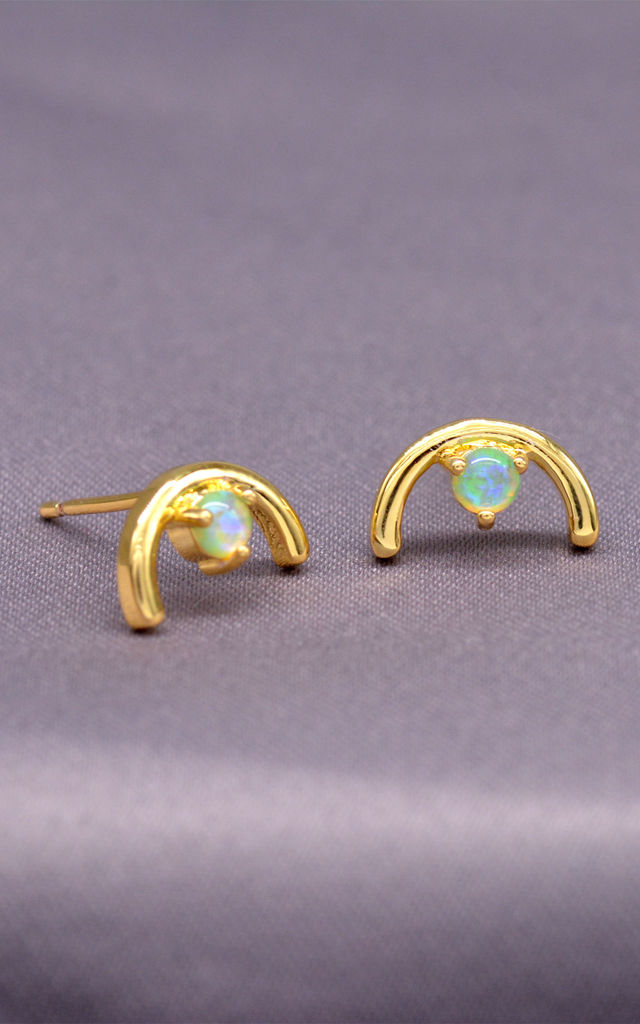 Delicate Gold Plated Semi Circle Stud Earrings with White Opal, Minimalist Earrings by Silver Rain