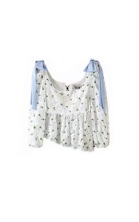 Audrey broderie anglaise top with blue ribbons by AMO
