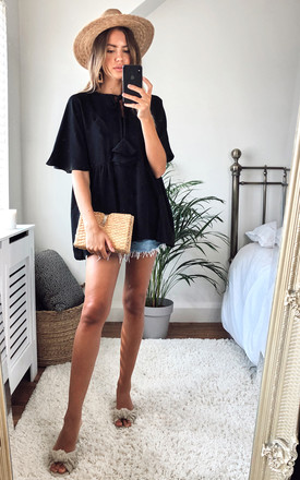 Juliet casual pompom blouse in black by Bullet