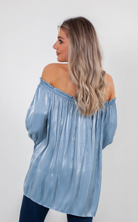 SATIN OFF SHOULDER TOP (BLUE) by Lucy Sparks