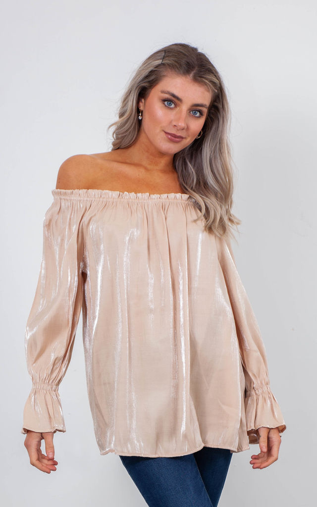 SATIN OFF SHOULDER TOP (GOLD) by Lucy Sparks
