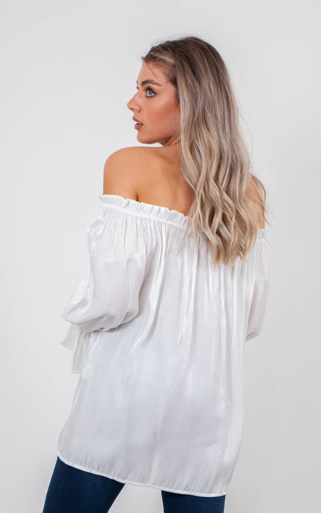 SATIN OFF SHOULDER TOP (WHITE) by Lucy Sparks