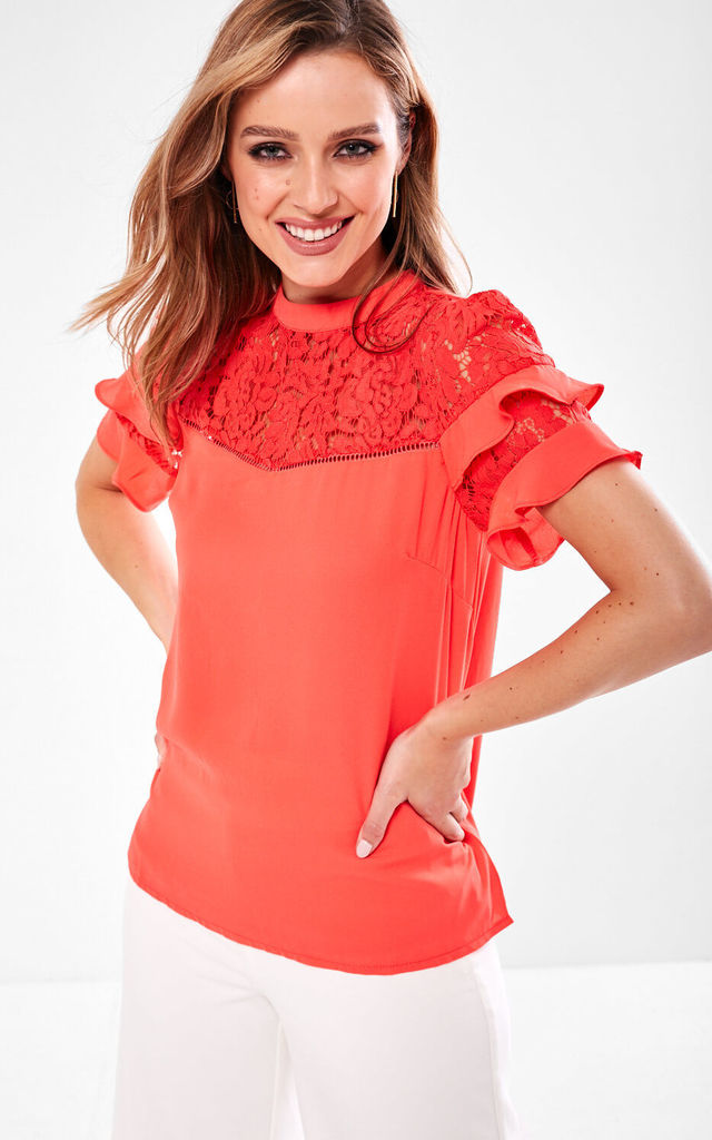 Crochet Top Blouse in Coral by Marc Angelo