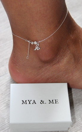 K Initial Anklet 925 Sterling Silver by Mya &. Me