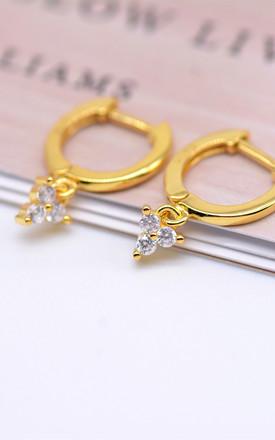 Gold Over Sterling Silver Huggie Hoops with Three Dot CZ Charm Dangle Hoops, Tiny Hoops, Minimalist Earrings, Everyday Hoops by Silver Rain