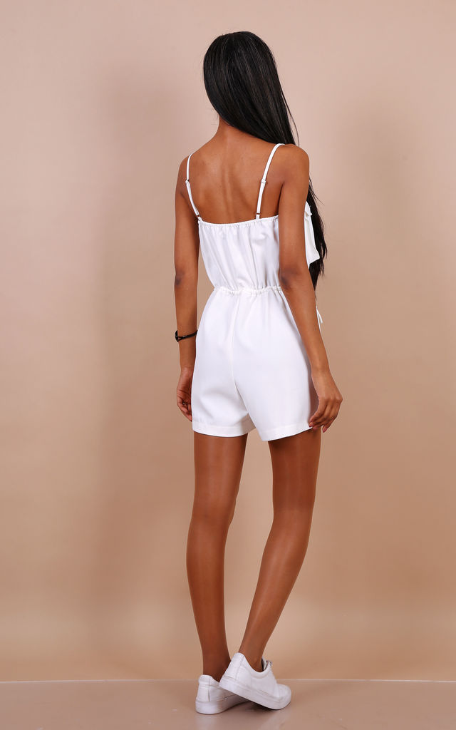 Pocket Detailed Playsuit In White by Lilura London