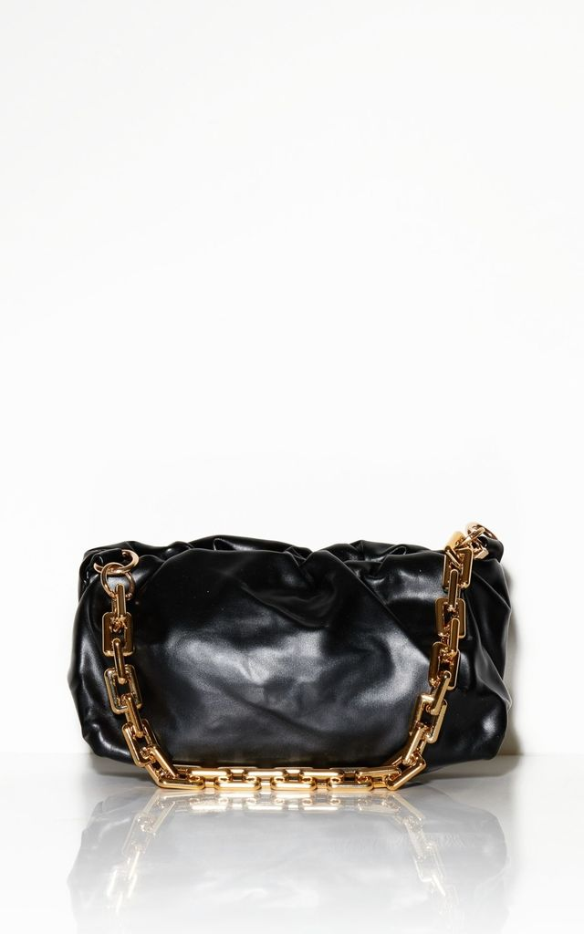 Places To Be Dumpling Clutch Bag With Acrylic Chain-Black by Broke and Beautiful