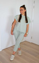 Mint Green Round Neck Loungewear Tracksuit Co ord | Top & Joggers by GIGILAND