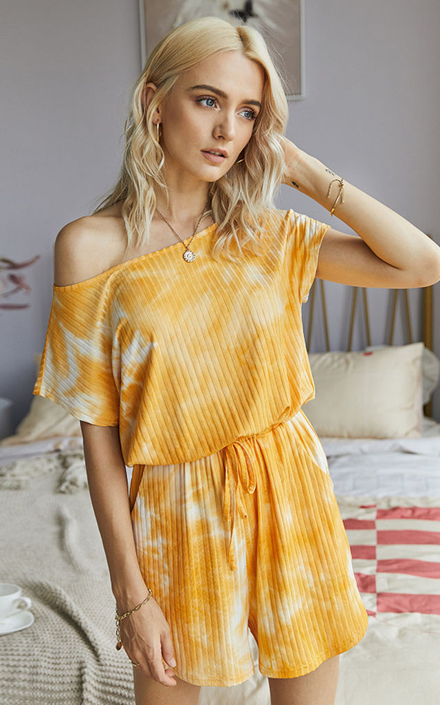 Short Sleeve Tie Dye Loungewear In Yellow by FS Collection