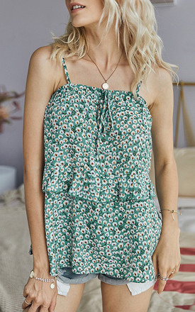 Double Frill Hem Cowl Neck Cami Top In Mint Green & White Daisy Floral by FS Collection