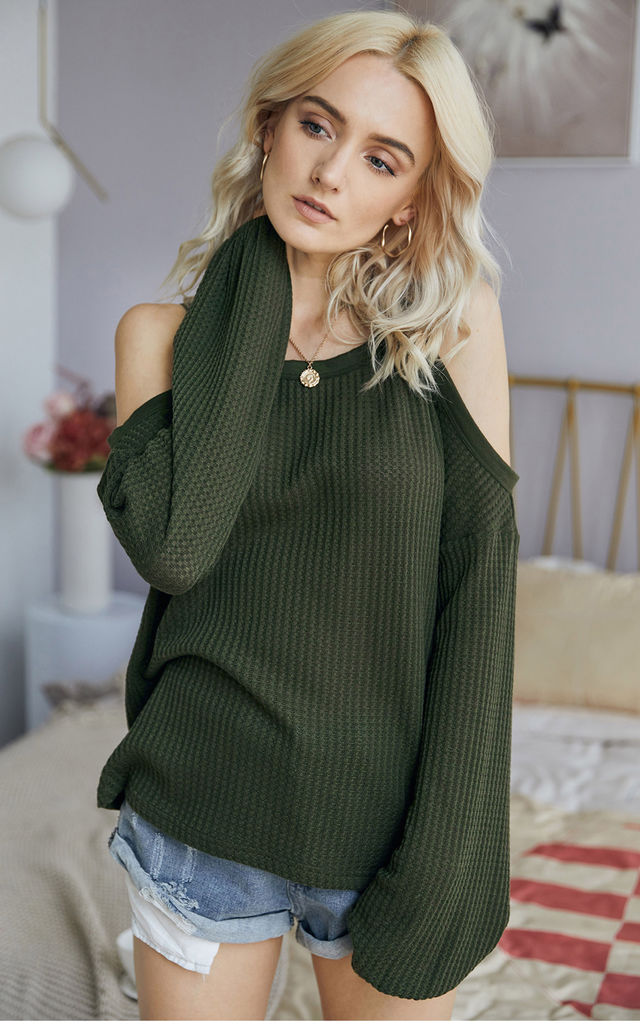 Cold Shoulder Long Sleeve Top In Olive Green by FS Collection