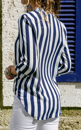 Blue & White Breton Striped Long Sleeve Top by FS Collection