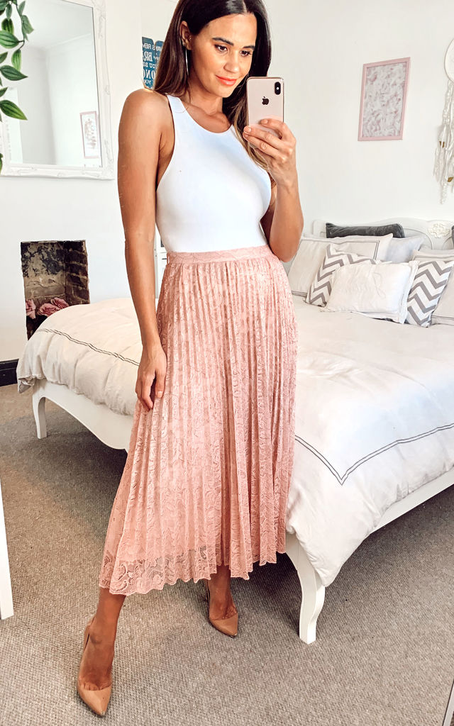 Women's Nude Lace Pleated Midi Skirt… by Edie b.