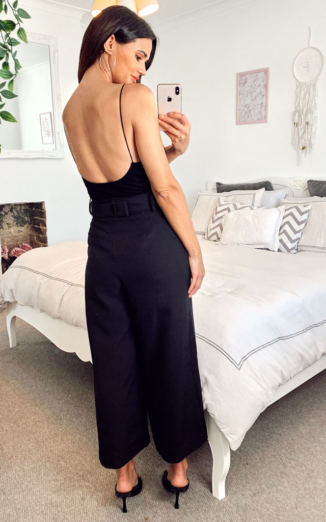 Abi Culotte With Self Belt and Split Detail In black by Edie b.