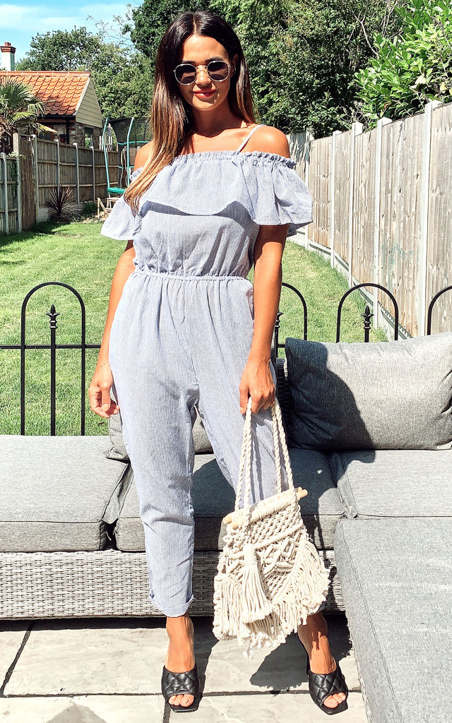 Cold Shoulder Jumpsuit with Ruffle Detail in Light Blue Stripe by CY Boutique