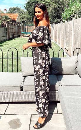 Off Shoulder Co-ord Set in Black Floral Print | Top and Trousers by CY Boutique