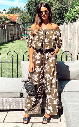 Off Shoulder Top and Trousers Co-ord Set in Green Floral Print by CY Boutique