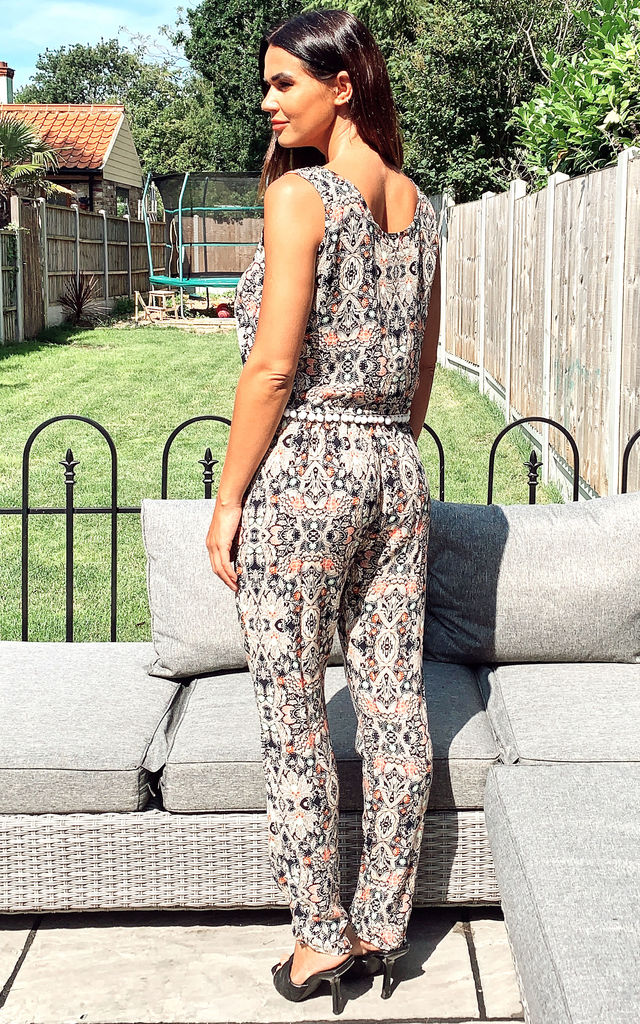Pink Geometric Print Vest Top and Trousers Co-Ord by CY Boutique