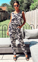 Navy Floral Print Vest Top and Trousers Co-Ord by CY Boutique