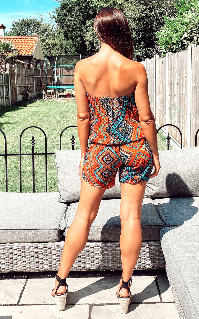 Aztec monochrome stripe print all over Playsuits - blue and orange by CY Boutique