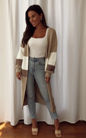 Cara Panelled Longline Cardigan Beige by Girl In Mind Product photo