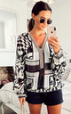 black and white retro aztec print beaded loose fitting top by Port boutique
