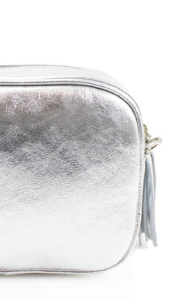 Silver real leather shoulder clutch bag by Hello Handbag