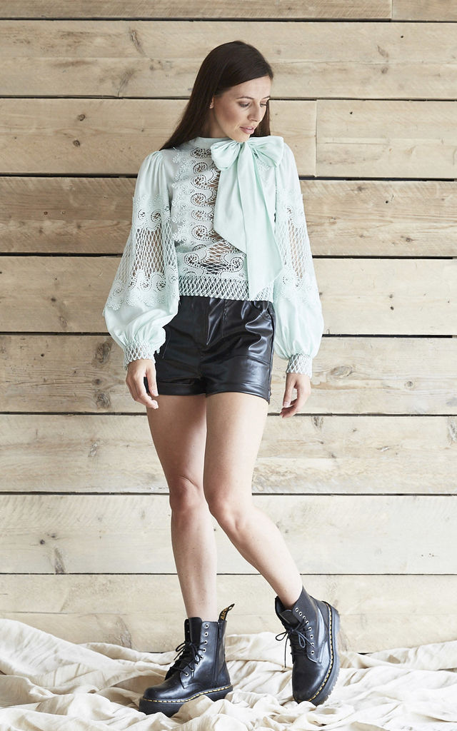 Mint Lace Bell Sleeve High Neck Bow Blouse by Mimi Clothing