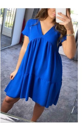 Royal Blue Smock V Neck Ruffle Mini Dress by GIGILAND UK