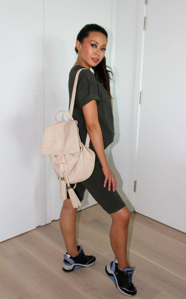 Khaki Top and Cycling Shorts Co ord Lounge set by GIGILAND