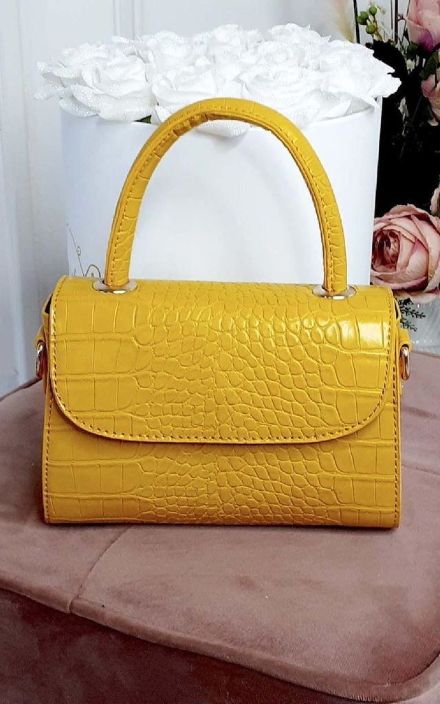 Kayley Croc Print Clutch Bag in Yellow by IKRUSH