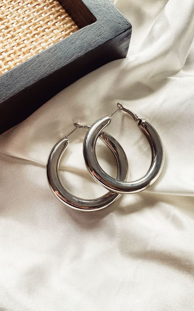 DANA Silver plated chunky tube hoop earrings by The Grey Collective