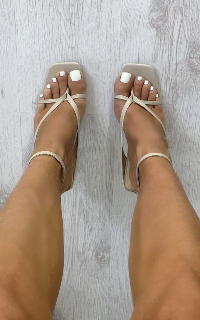 Kendall Strappy High Heels in Nude by IKRUSH