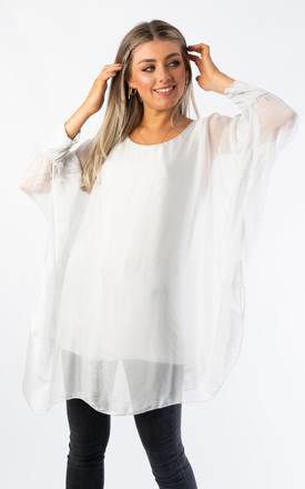 SILK OVER SIZED TOP (LIGHT GREY) by Lucy Sparks