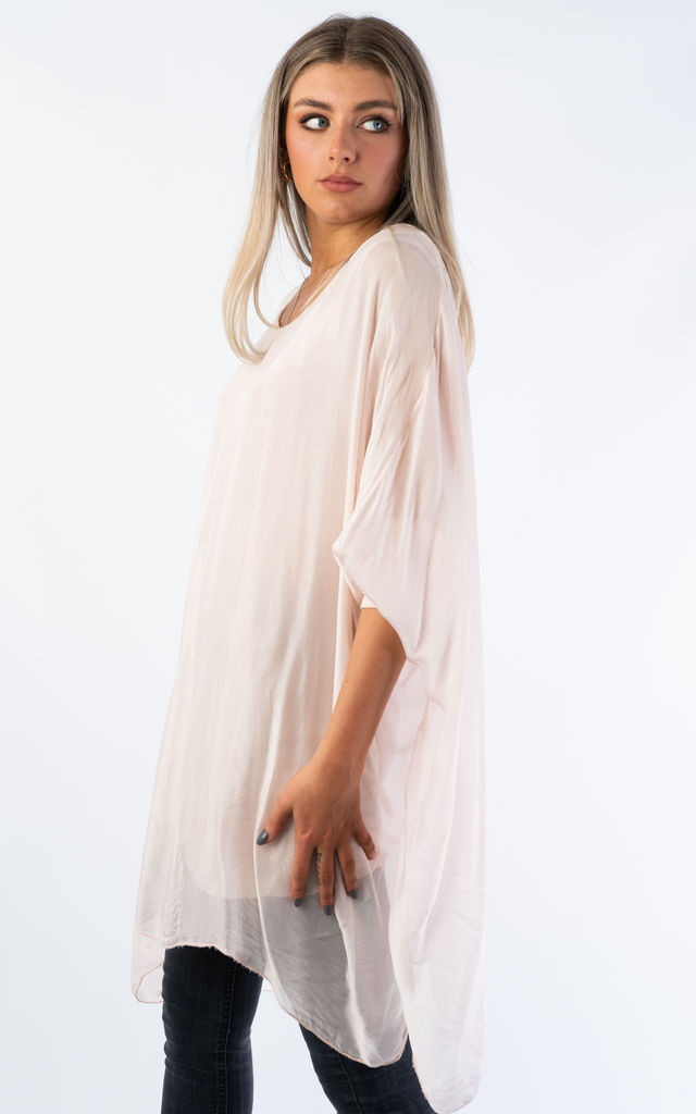 SILK OVER SIZED TOP (PINK) by Lucy Sparks