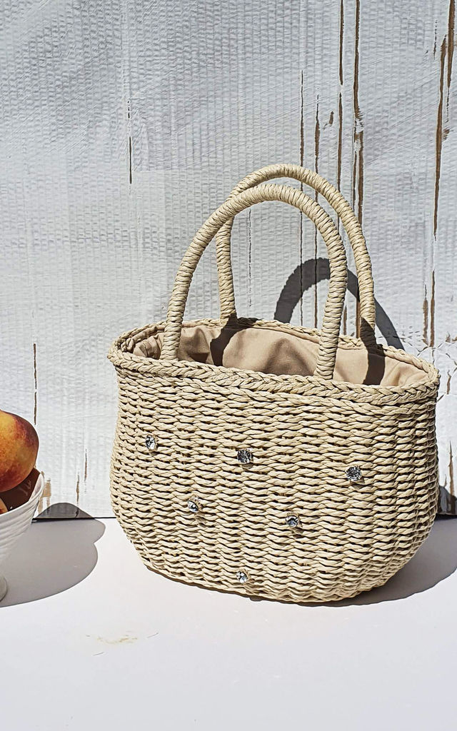 Shimmer straw basket tote bag by Rianna Phillips