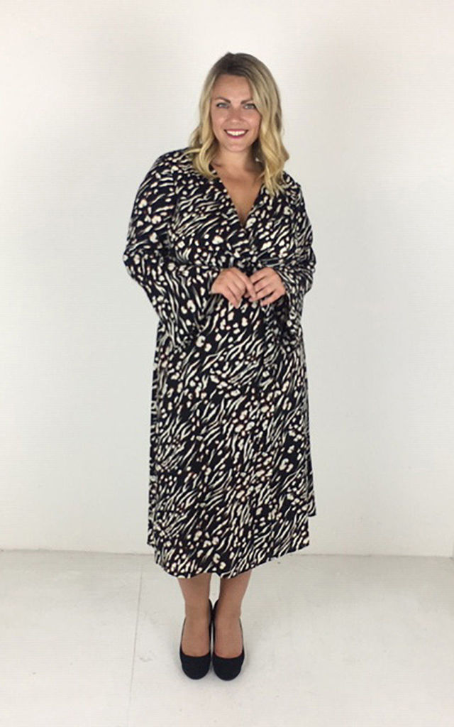 Plus Size Wrap midi Dress in brown Print by Praslin
